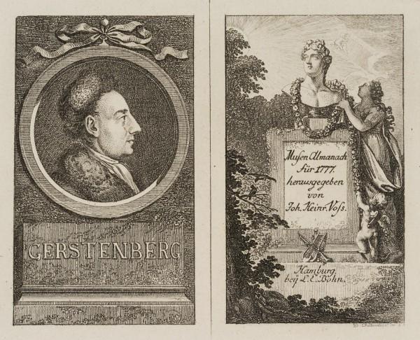 Titel und Portrait zu Voss' Musenalmanach für 1777