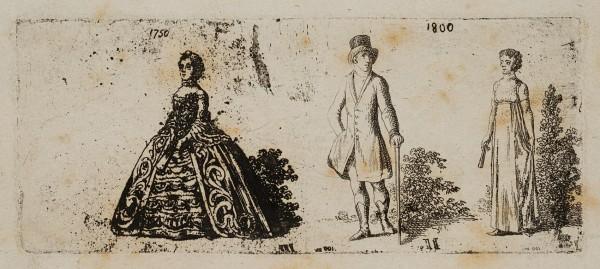Modekleidung aus der Mitte und dem Ende des 18ten Jahrhunderts