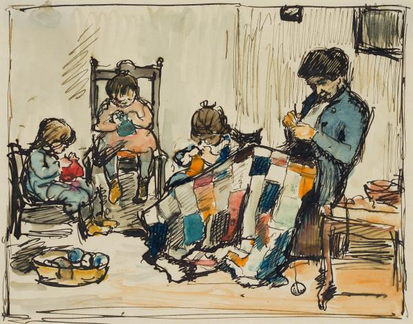 Mutter beim Häkeln mit spielenden Kindern