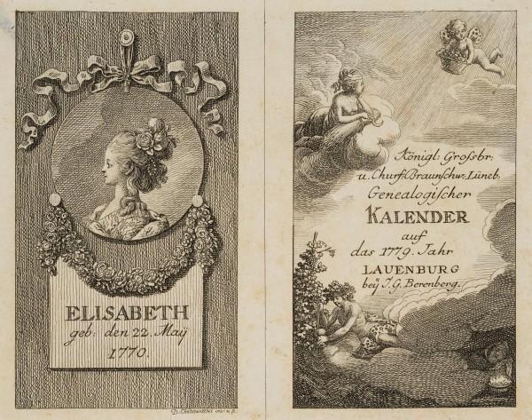 Titel und Portrait zum Lauenburger Kalender für 1779