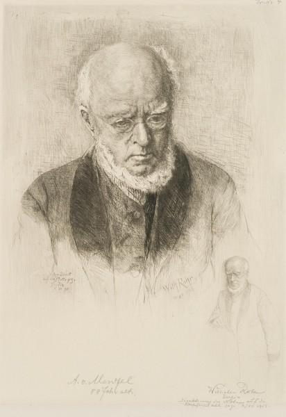 Porträt des Künstlers Adolph von Menzel (1815 Breslau - 1905 Berlin) im Alter
