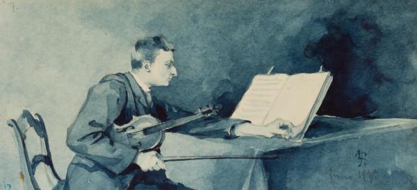 Die blaue Stunde. Violinspieler beim Notenstudium