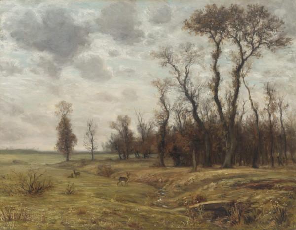 Herbstliche Landschaft mit Rehen