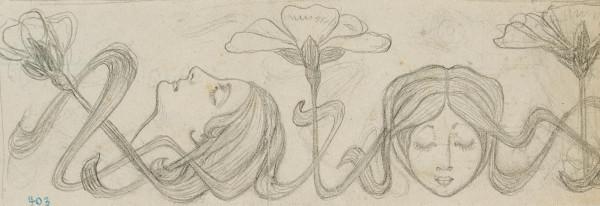 Jugendstilornament mit Frauen und Blumen