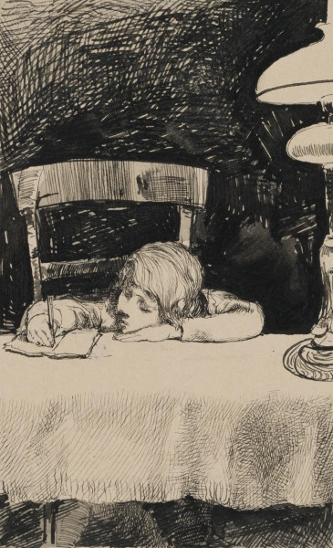 Junges Mädchen am Tisch schreibend