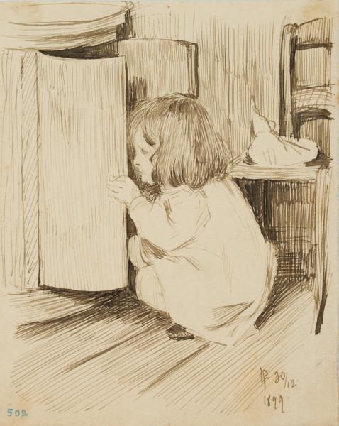 Mädchen am Schrank