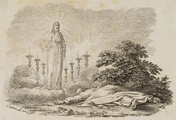 Johannes liegt vor der Erscheinung Christi