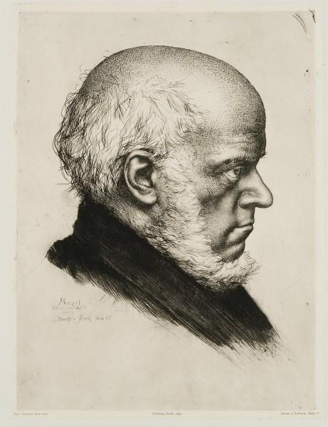 Profilporträt des Künstlers Adolph von Menzel (1815-1905) im Alter von 70 Jahren