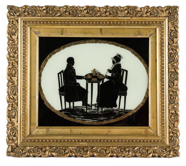 Hinterglasbild, Ehepaar beim Kaffeetrinken