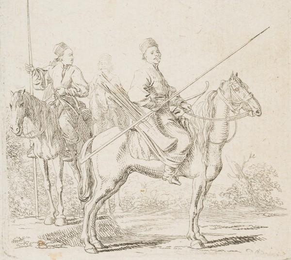 Drei Baschkiren zu Pferd in einer Landschaft