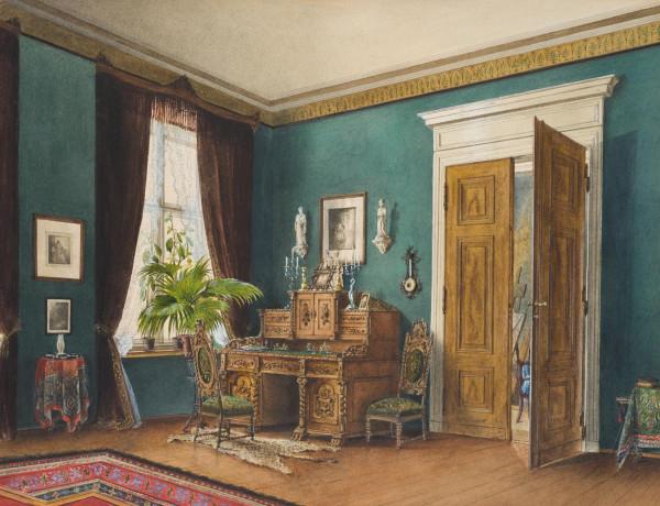 Interieur mit Staffelei, Maleratelier
