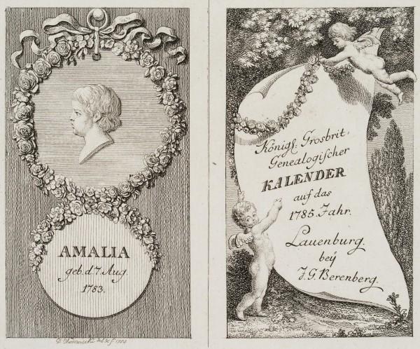 Titel und Portrait zum Lauenburger genealogischen Kalender auf das 1785. Jahr