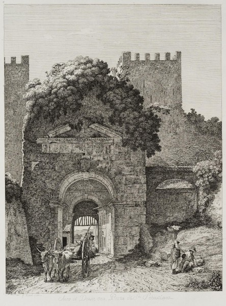 Der Drususbogen an der Porta San Sebastiano in Rom, Feldseite