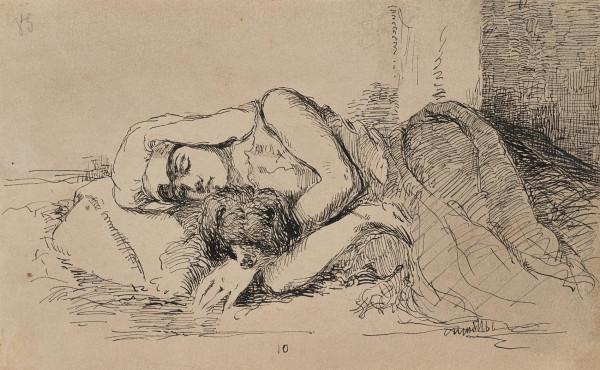Schlafende Neapolitanerin mit Hund