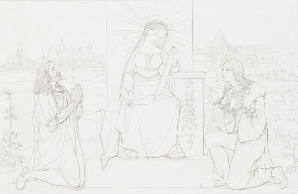 nach Franz Pforr: Allegorische Darstellung der neuen Kunst als Verschmelzung altdeutscher Meister in