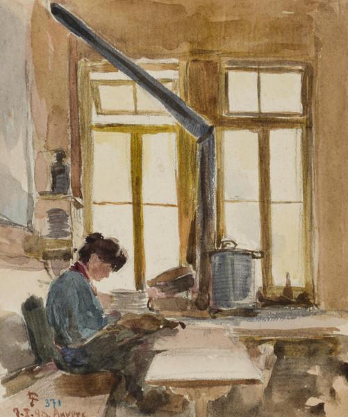 Interieur mit Frau am Tisch, Antwerpen