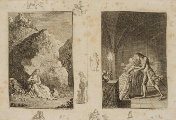 Agnese am Felsen sitzend & Egbert und Agnese erklären ihre Liebe