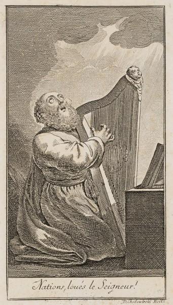 König David mit der Harfe musizierend, Titel-Kupfer zu den Psalmen