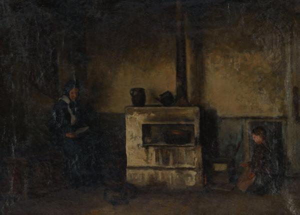 Interieur mit lesender Frau und Mädchen