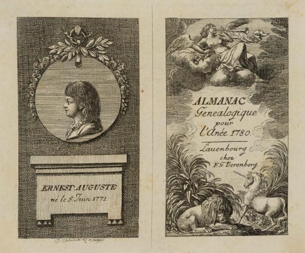 Titel und Portrait zu dem Almanac généalogique de Lauenbourg 1780