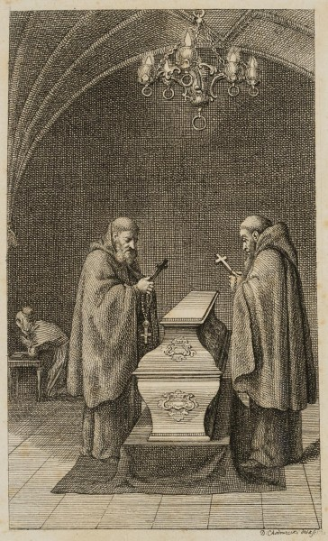 Zwei Mönche am Sarg Elisens