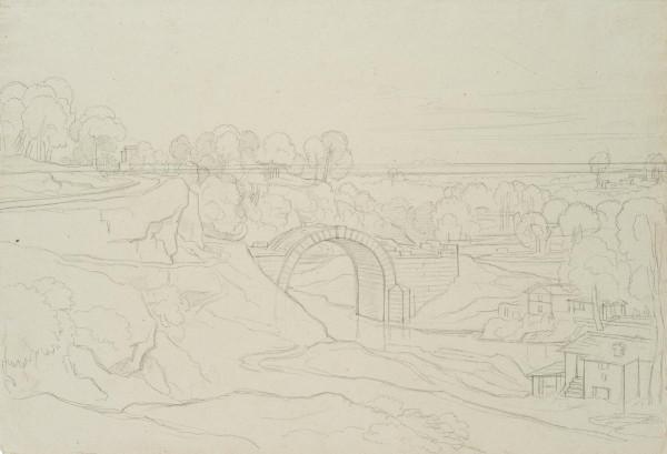 Italienische Landschaft mit Baustelle einer Brücke