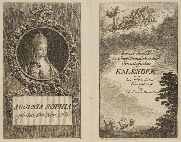 Titel und Portrait zum Lauenburger genealogischen Kalender für 1778