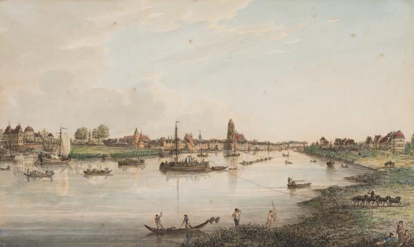 Ansicht von Frankfurt am Main mit Treidelschiffern